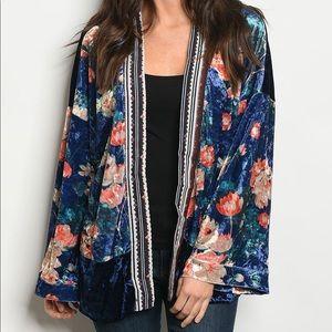 Tops - Crushed Velvet Gypsy Boho Floral Tribal Kimono